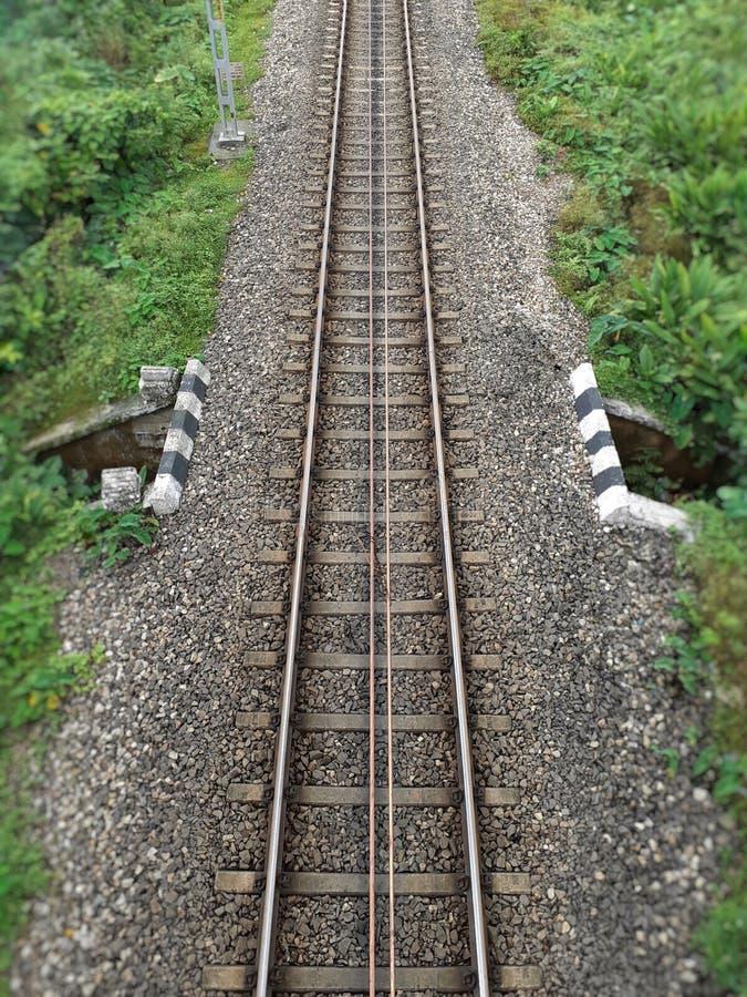 Einzelne Draufsicht der Eisenbahnlinie, Indien stockfoto
