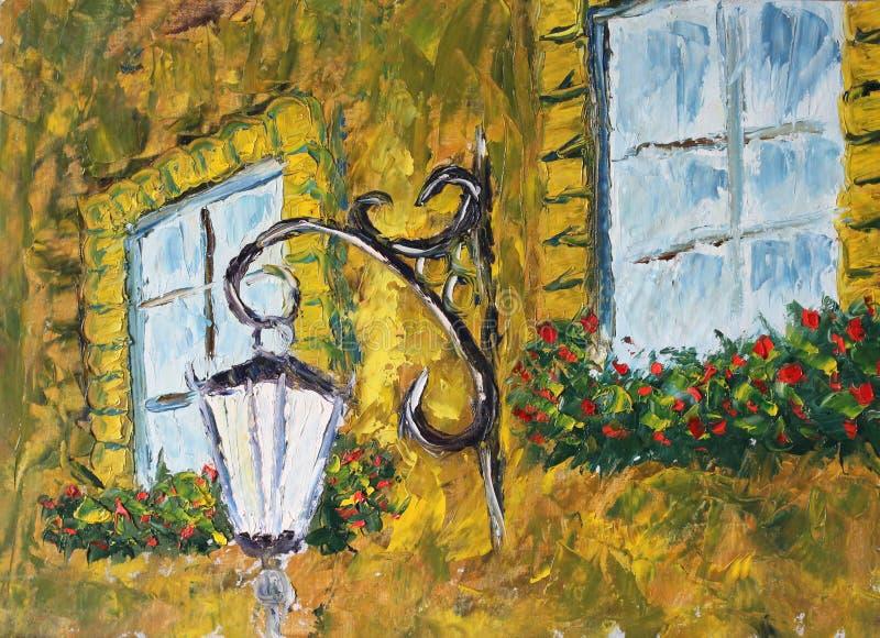 Einzelne Laterne auf einem Haus nahe dem Fenster lizenzfreie abbildung