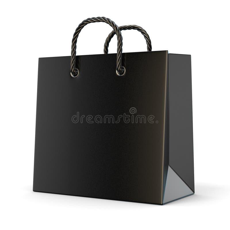 Einzelne, leere, schwarze, leere Einkaufstasche 3d lizenzfreie abbildung