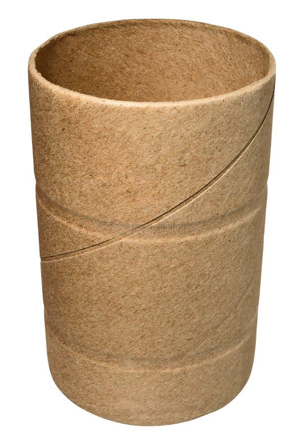 Einzelne leere Toilettenpapierrolle stockfotografie