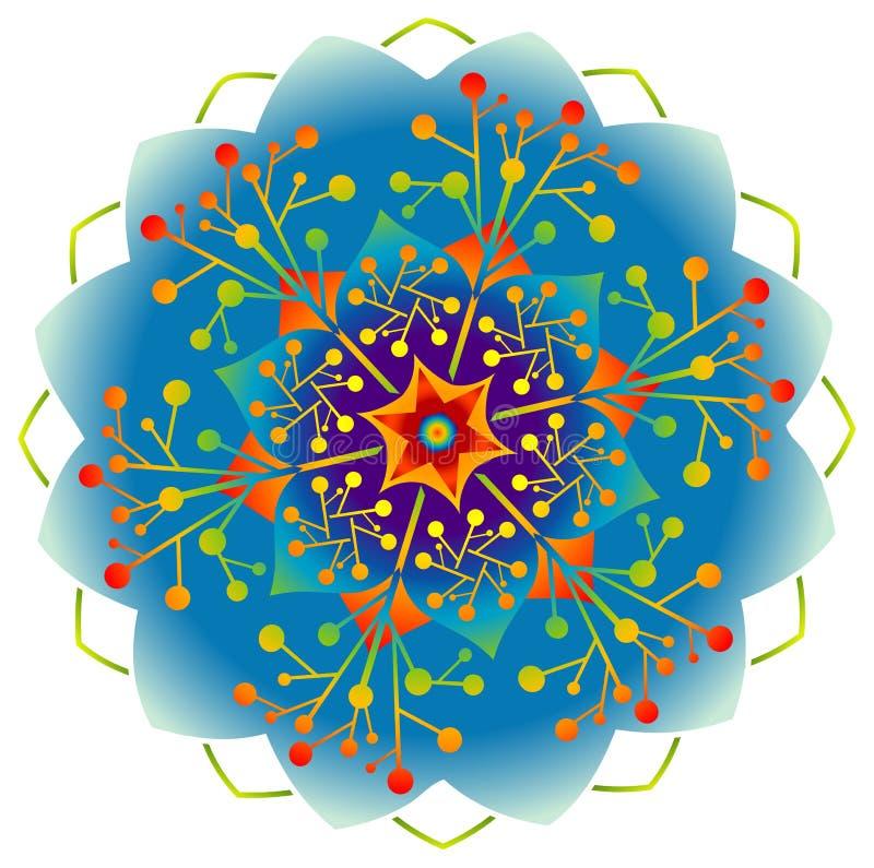 Einzelne Mandala - Regenbogen-Farben lizenzfreie abbildung