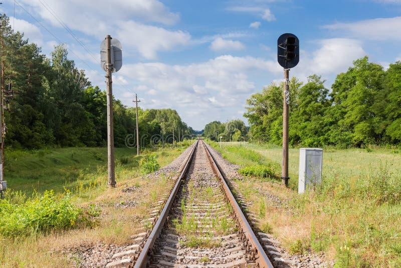 Einzelne moderne Bahnstrecken mit Ampeln im Wald stockfotos