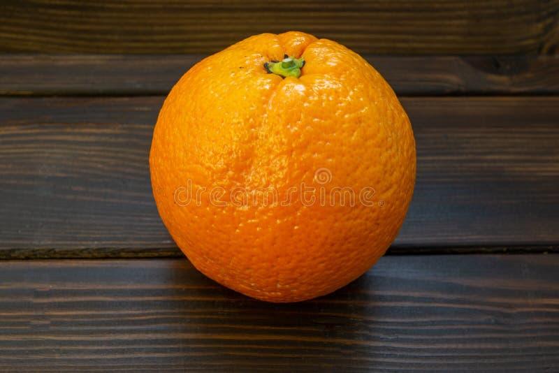 Einzelne Orange wählte gerade weg vom Baum aus, der wartet gegessen zu werden stockfotografie