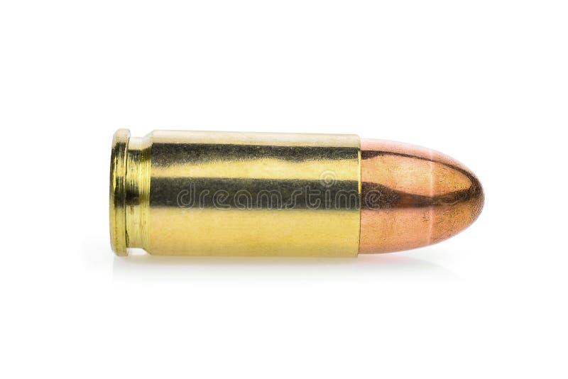 Einzelne Patrone 9 Millimeter Pistolenmunition, volles Metall stockbilder