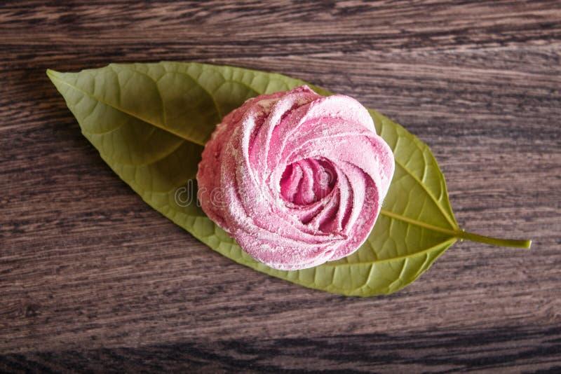 Einzelne rosa selbst gemachte Eibische auf einem grauen hölzernen Hintergrund lizenzfreies stockbild