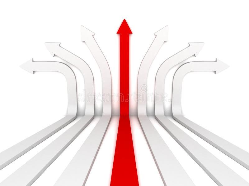 Einzelne rote Pfeilführerrichtige richtung vorwärts vektor abbildung