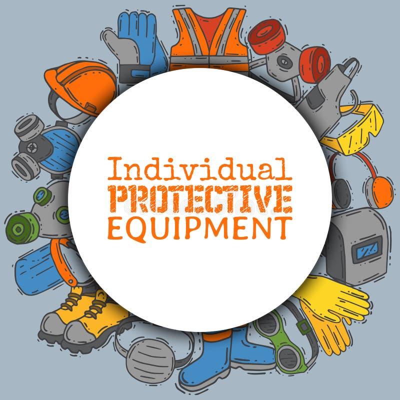 Einzelne Schutzausrüstung für sichere Arbeitsvektorillustration Großer Verkauf auf Gesundheits- und Sicherheitsversorgungen ri lizenzfreie abbildung