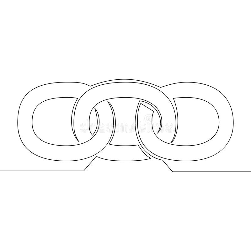 Einzelne ununterbrochene Linie blockchain, das Seufzer verbindet stock abbildung
