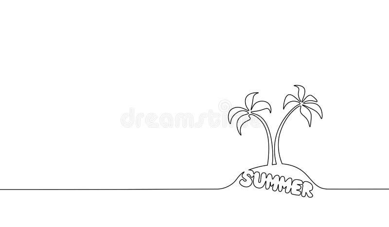 Einzelne ununterbrochene Linie Kunstkokosnussbaumpalme Tropische Skizze der Paradiesinsellandschaftssommer-Briefgestaltung eine vektor abbildung