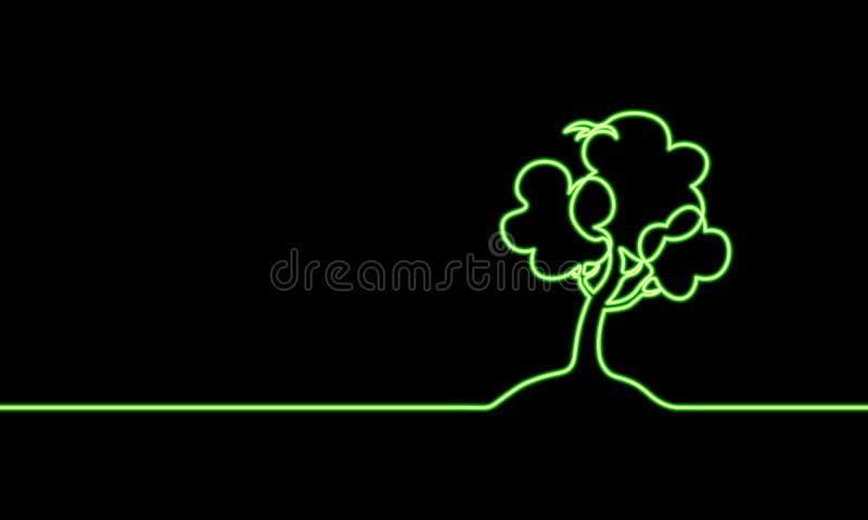 Einzelne ununterbrochene Linie wachsender Sprössling der Kunst Grüne Neonlichtfahne Pflanzenblätter säen wachsen natürliches Bode lizenzfreie abbildung