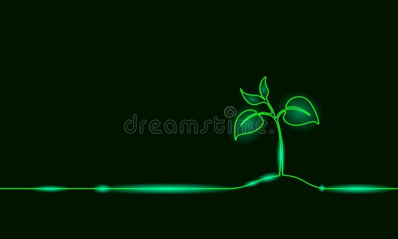 Einzelne ununterbrochene Linie wachsender Sprössling der Kunst Pflanzenblätter säen wachsen Bodensämling eco natürliches Bauernho vektor abbildung