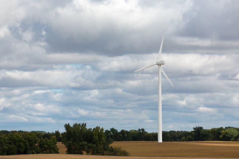 Einzelne Windkraftanlage auf einem Maisgebiet lizenzfreies stockbild
