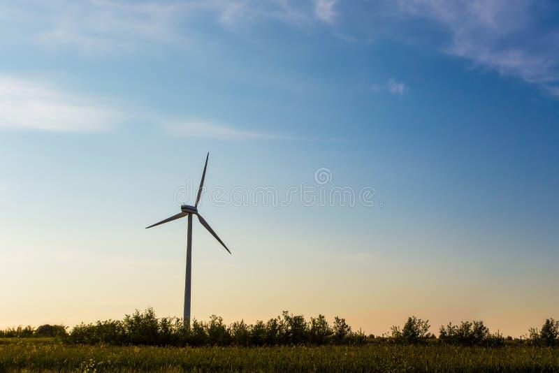 Einzelne Windkraftanlageeinrichtung auf dem Gebiet, Zeit glättend Gl?hlampe mit gr?nem Baum und Blume D?mmerung in der Landschaft stockbild