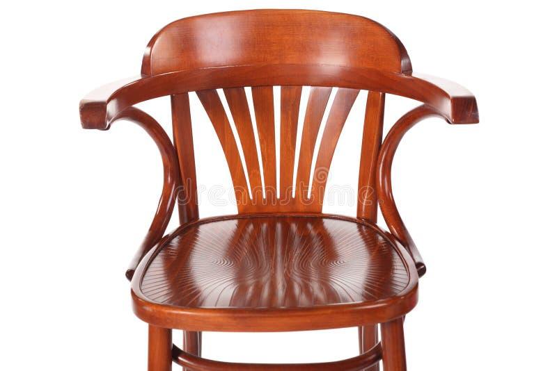 Einzelner alter Retro- hölzerner Stuhl mit Rückseite. getrennt. stockbild