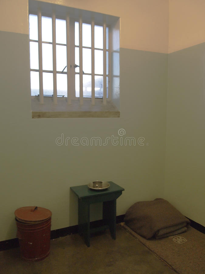 Einzelner Bezirk des Gefängnisses von Nelson Mandela Robben Insel lizenzfreie stockfotos
