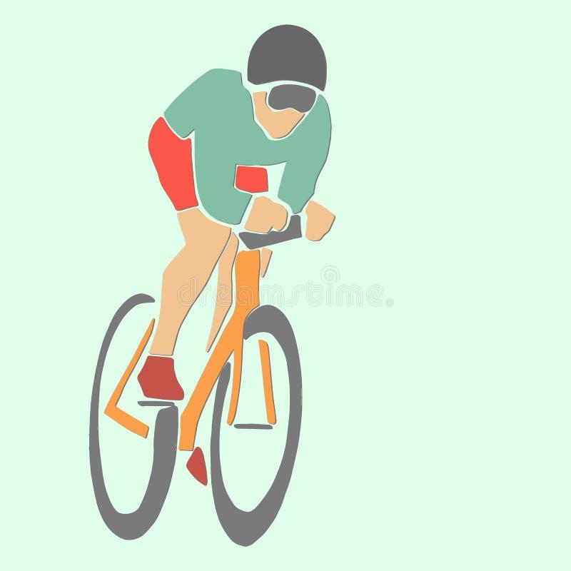 Einzelner m?nnlicher Radfahrer auf Fahrrad stock abbildung