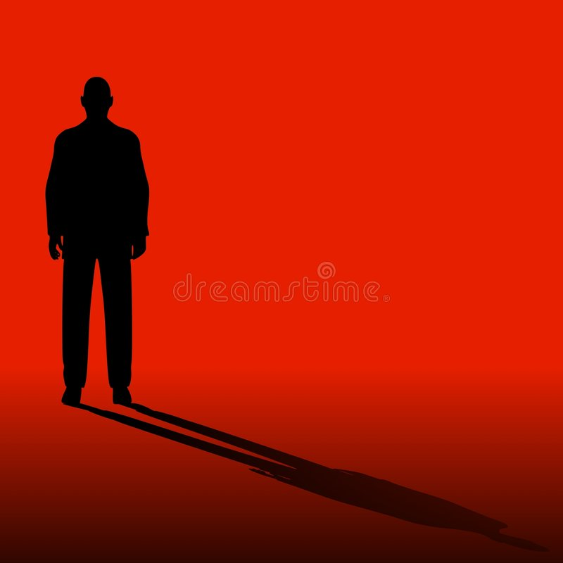 Einzelner Mann auf Rot mit Schatten lizenzfreie abbildung