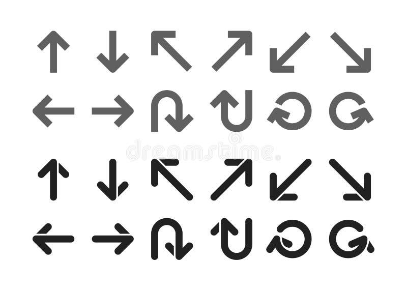 Einzelner Richtungspfeilsatz vektor abbildung