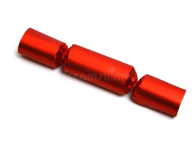 Einzelner roter Cracker lizenzfreie stockfotos