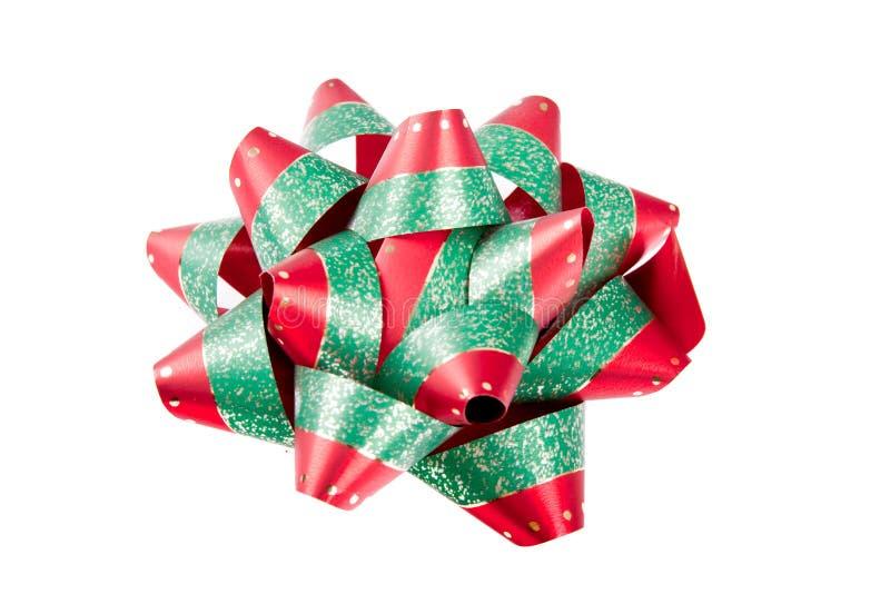 Einzelner roter grüner Weihnachtsbogen stockfotos