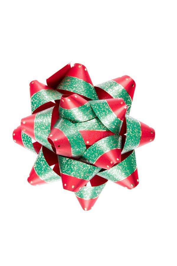 Einzelner roter grüner Weihnachtsbogen lizenzfreies stockfoto