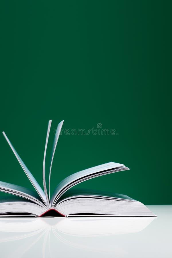 Einzelnes Buch, geöffnet über grünem Hintergrund stockbilder