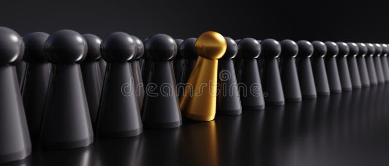 Einzelnes goldenes Pfand - Illustration 3D stock abbildung