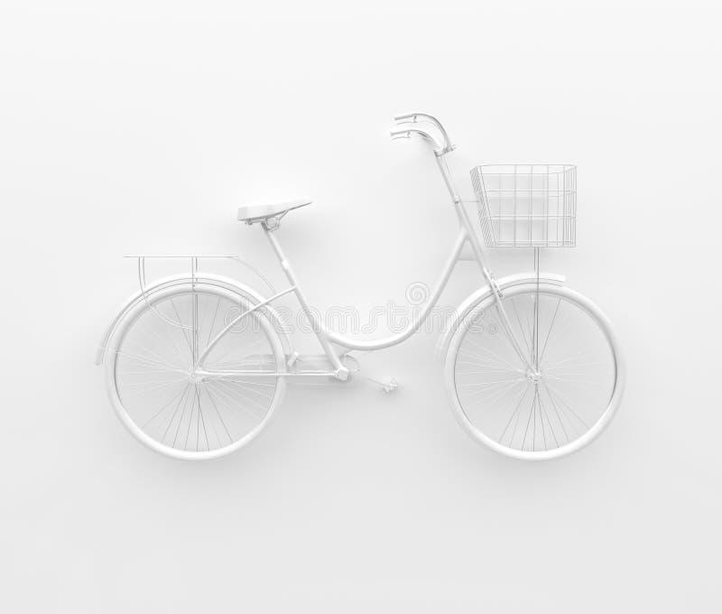 Einzelnes Retro- Fahrrad gemalt im einfarbigen Weiß Getrennt auf weißem Hintergrund Abstrakter Begriff 3d übertragen stock abbildung