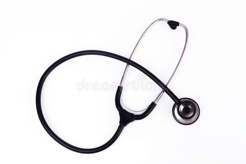 Einzelnes schwarzes Stethoskop stockfotos