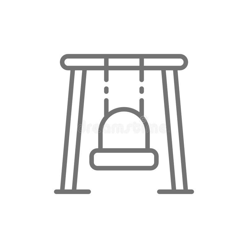 Einzelnes Schwingen für Spielplatzlinie Ikone lizenzfreie abbildung