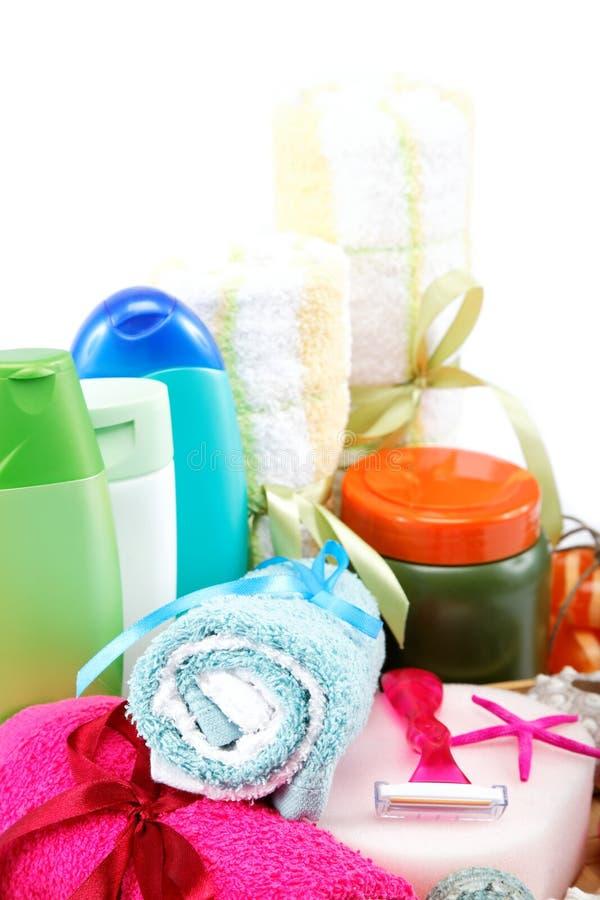 Einzelteile der persönlichen Hygiene. Zusätze für Sauna oder Badekurort. stockbilder