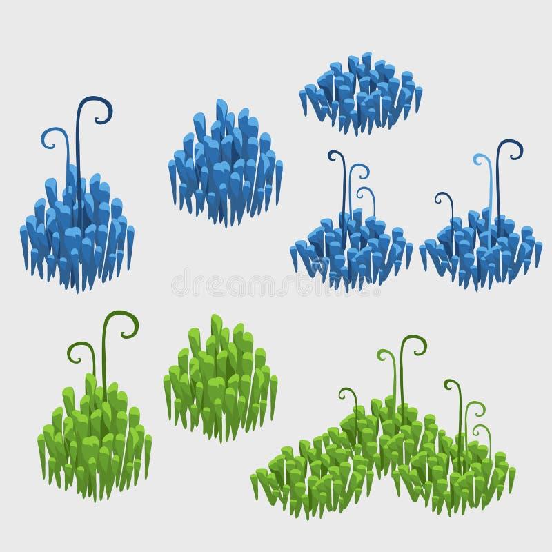 Einzelteile des Blumendekor-, Blauem und Grünemfliesengrases vektor abbildung