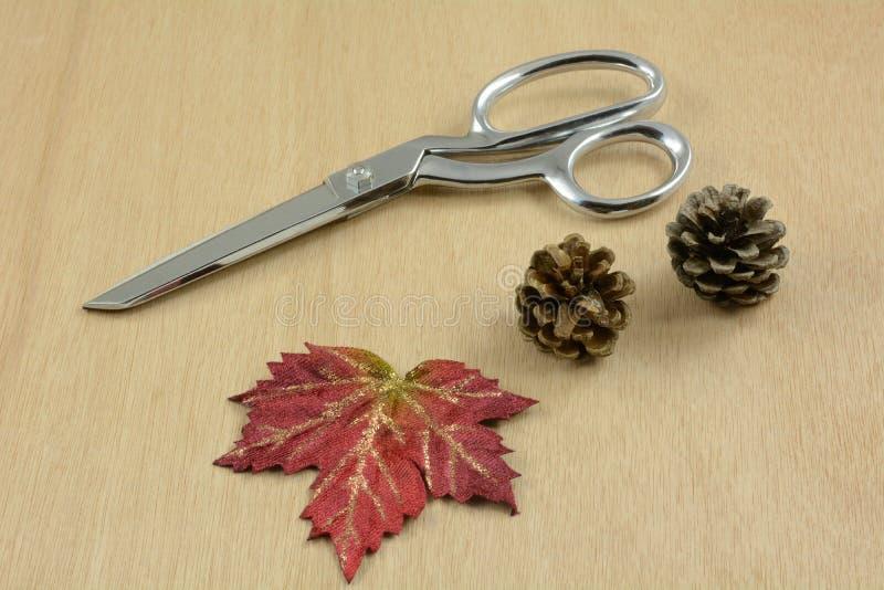 Einzelteile für das In Handarbeit machen der Herbst Danksagungsdekoration stockfotografie
