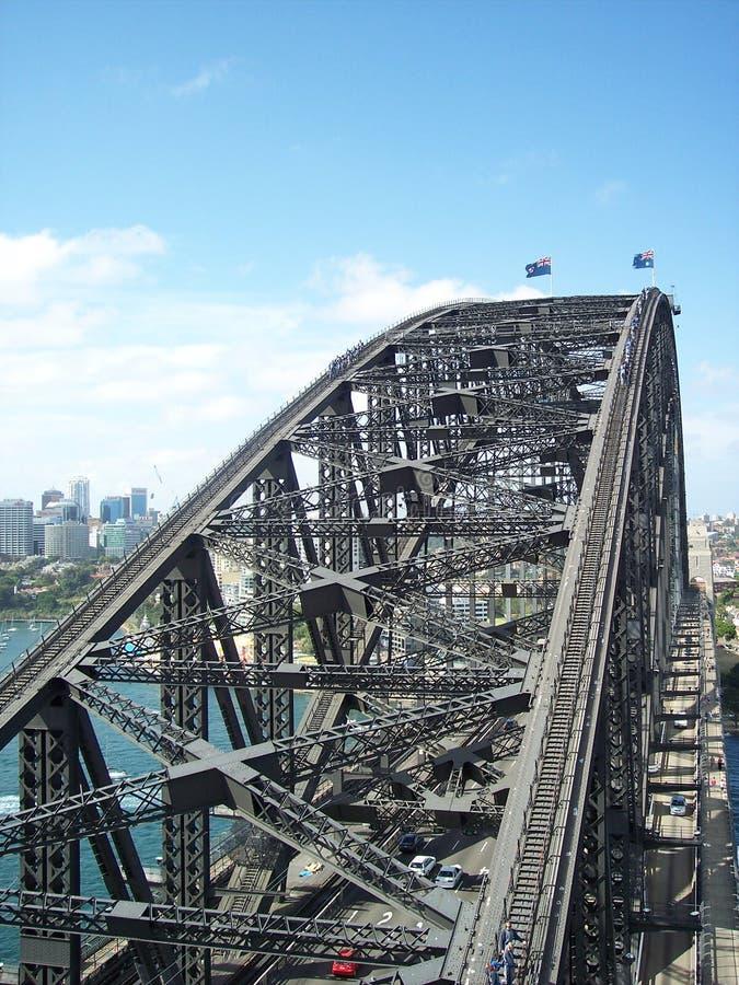 Einzigartige Ansicht von Sydney Harbor Bridge stockbild