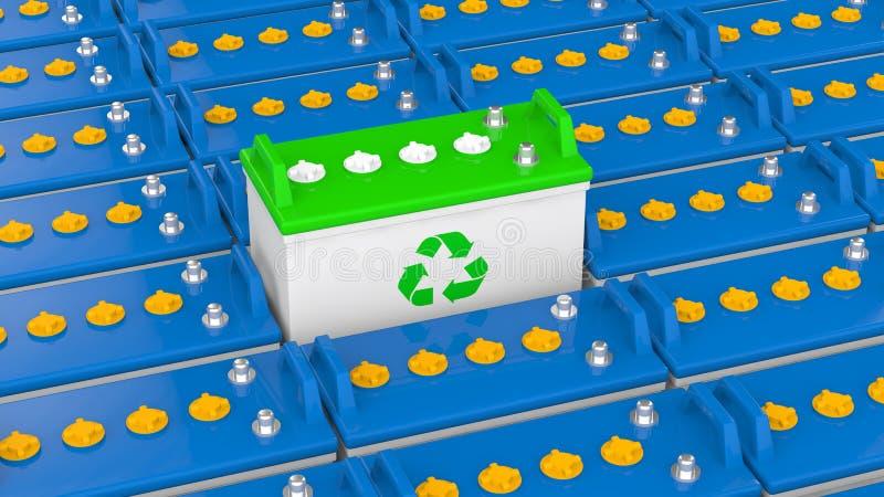 einzigartige Blei-Säure-Batterie 3d mit Recycling-Symbol lizenzfreie abbildung