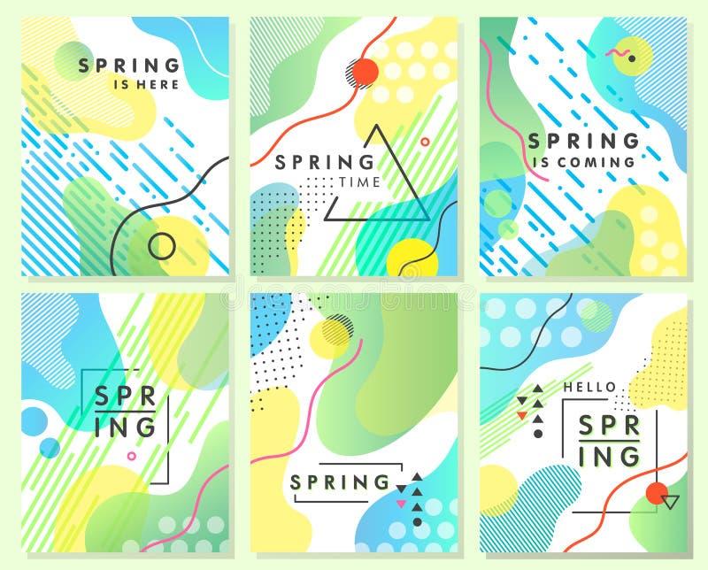 Einzigartige künstlerische Frühlingskarten mit hellem Steigungshintergrund lizenzfreie abbildung