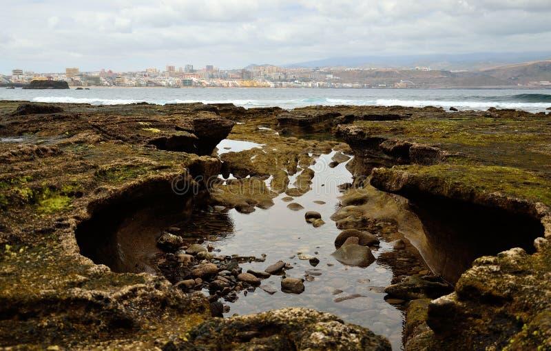 Einzigartige Küste bei Ebbe, Gran Canaria lizenzfreie stockfotos