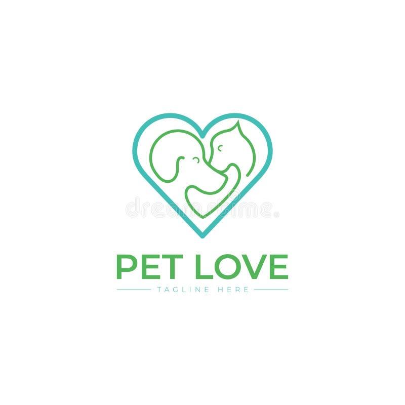 Einzigartige Katze, Hund, Pint, petshop Logoschablone Haupt, blau lizenzfreie abbildung