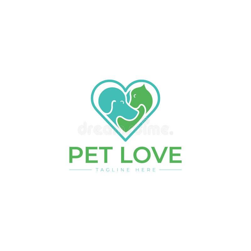 Einzigartige Katze, Hund, Pint, petshop Logoschablone Haupt, blau vektor abbildung