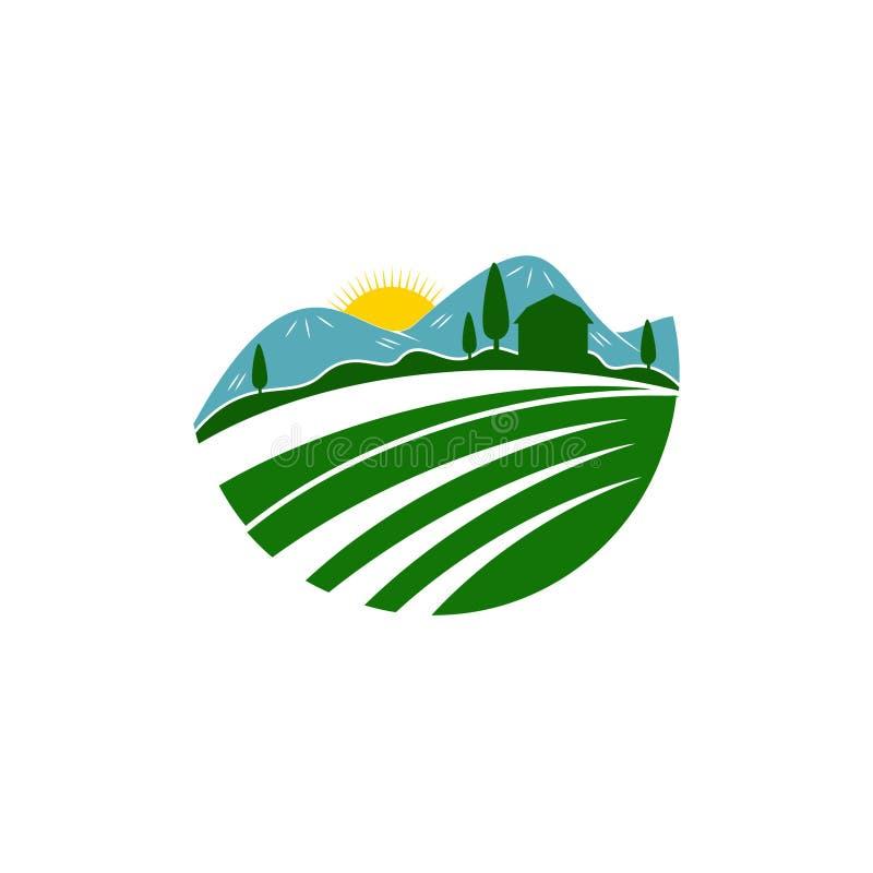 Einzigartige Landwirtschaft und Landwirtschaft der Logoschablone vektor abbildung
