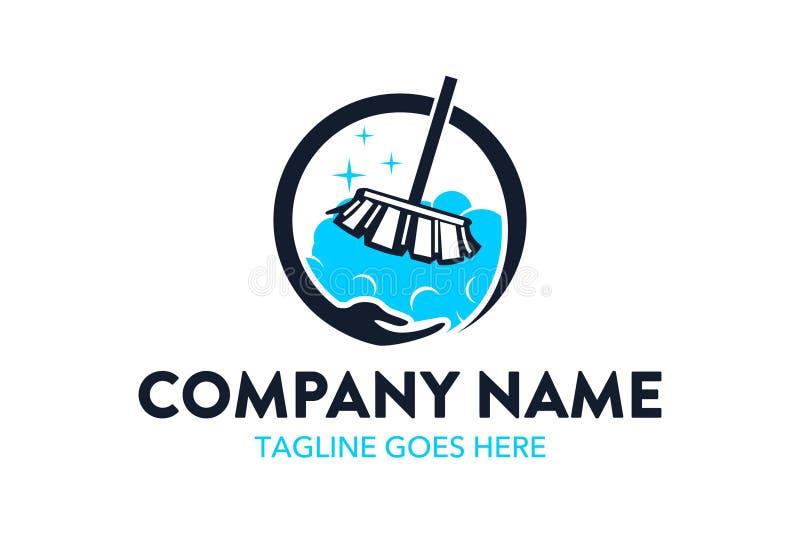 Einzigartige Reinigungs- und Wartungsservice-Logoschablone stock abbildung