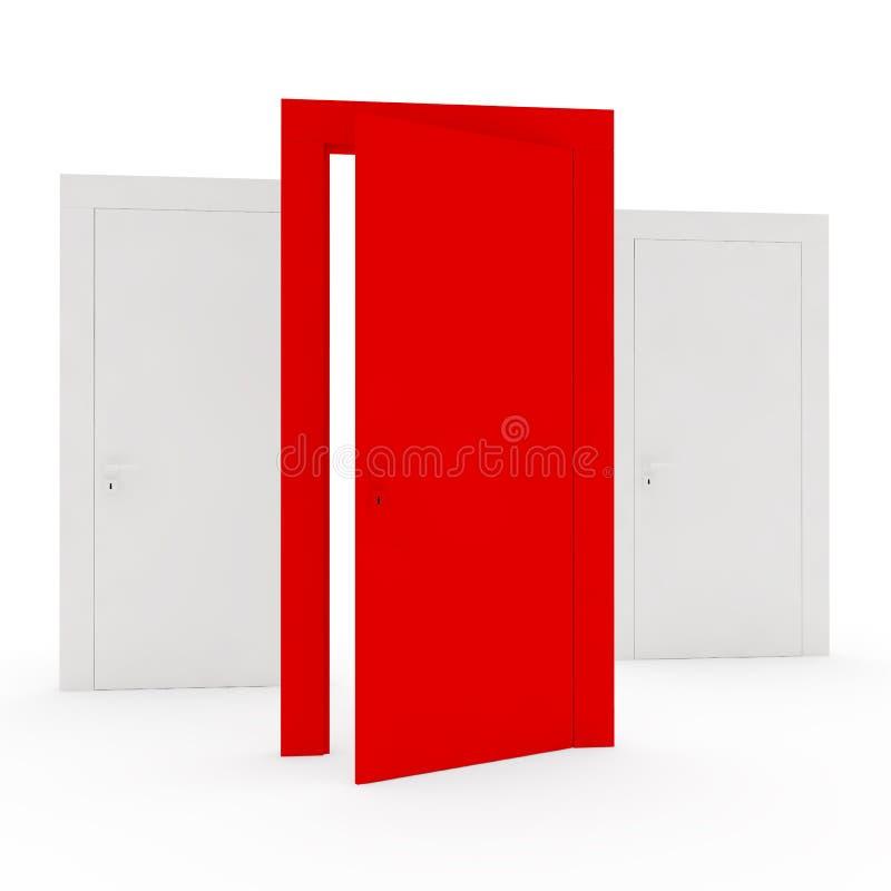 Einzigartige rote Tür stock abbildung