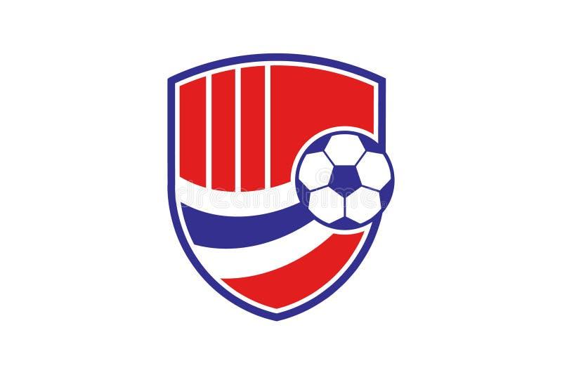 Einzigartige Sportfußballfußball-Logoschablone vektor abbildung
