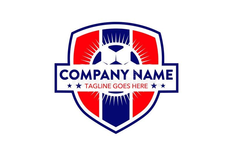 Einzigartige Sportfußballfußball-Logoschablone lizenzfreie abbildung
