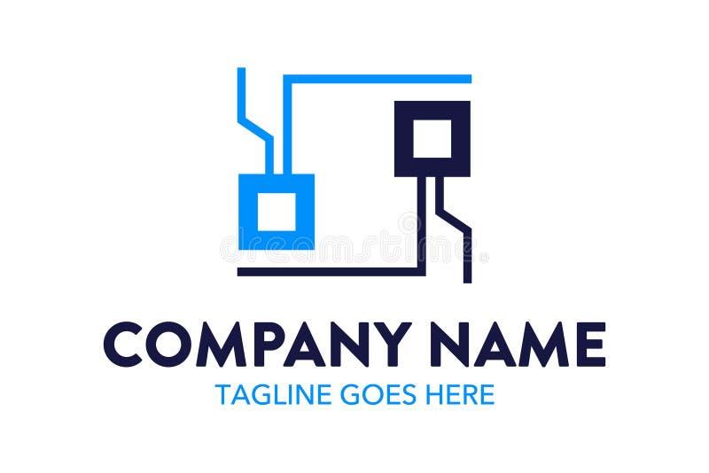 Einzigartige und ursprüngliche Computer- und Vernetzungslogoschablone lizenzfreie abbildung