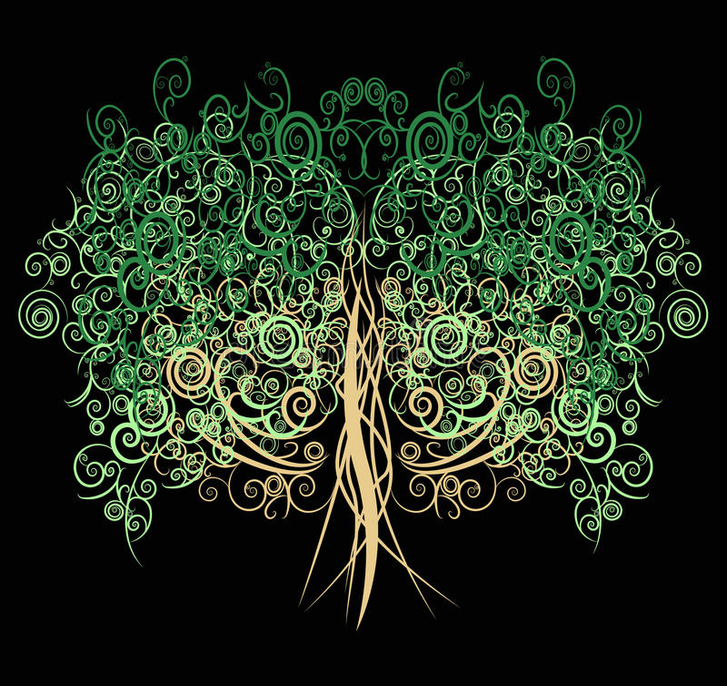 Einzigartiger gelockter Baum gemacht mit vielen Kurven und elemen stock abbildung