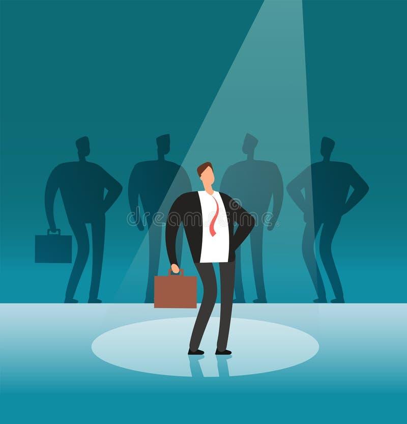 Einzigartiger Geschäftsmann, der im Scheinwerfer steht Stehen Sie heraus durch Arbeitgeber-, Karriere- und Einstellungsvektorkonz lizenzfreie abbildung
