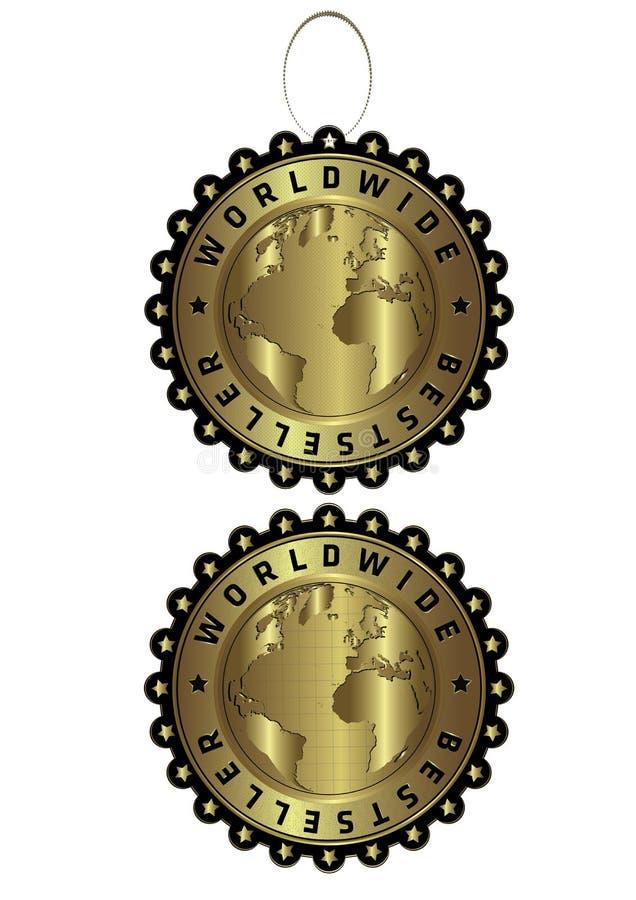 Einzigartiger goldener Luxusaufkleber des weltweiten Bestsellers u.  stock abbildung