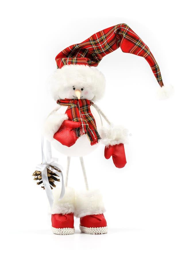 Einzigartiger handgemachter Schneemann auf einem weißen Hintergrund als Symbol von Weihnachten oder von Neujahrsfeiertag lizenzfreie stockfotografie