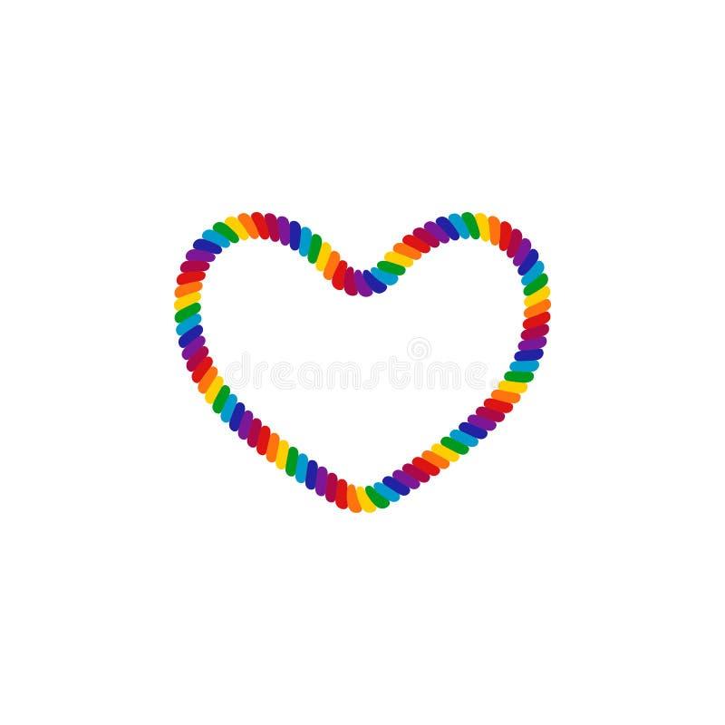 Einzigartiger Regenbogen farbiges Seil LGBT Pride Frame Border Design Element lizenzfreie abbildung